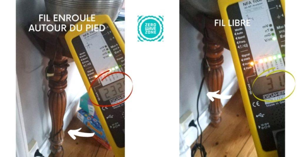 n'enroulez pas les câbles autour des pieds